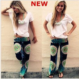 Wholesale New summer Palazzo Pants women Casual High Waist Flare Wide Leg Long Trousers Plus Size floral classic exuma pants preppy