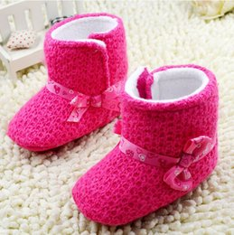 Wholesale baby shoes princess snow boots high grade toddler shoes winter girls shoes rose red walker snow shoes non slip pairs C