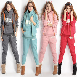 Wholesale Women Fashion Hoodies Sweater Suit Sweat Set Thickening Leisure Sports Hoodie hoody panty vest winter women hoodies sets