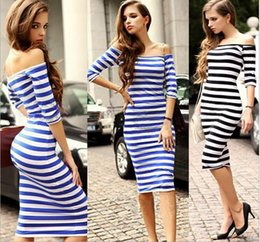 Wholesale 2015 New Arrivals Women s Spring Clothing Sexy Stripe Casual Long Dress Slinky Bodycon Drop shipping