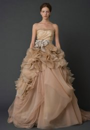 Wholesale 2015 Real Image Luxury A Line Organza Floor Length Strapless Sleeveless Ruffle Billowing Waist Jewelry Bridal Dresses