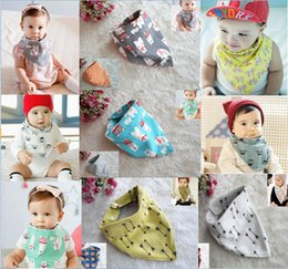 Wholesale Free DHL fashion Cotton Baby Bibs Boys Girls Saliva Towel Cartoon Burp Cloths Toddler Bandana Dribble Triangle Head Scarf Styles