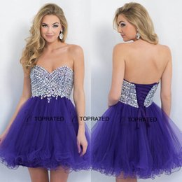 Wholesale Mini Homecoming Short Prom Dresses Party Graduation Gown Cocktail With A Line Sweet heart Beads Crystal Corset Regency Tulle Cheap