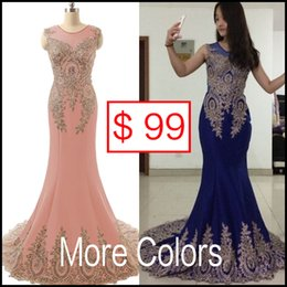 Wholesale Sheer Neck Prom Evening Dresses Embroidery Real Image Red Black Burgundy Royal Blue Formal Occasion Wedding Party Gowns Arabic