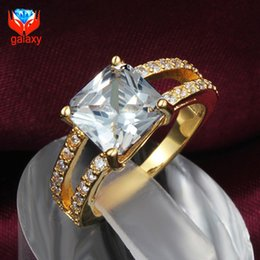 wholesale price 18k real gold plated trendy jewelry square shape aaa swiss cz diamond wedding rings for women christmas gift zr584 - Cheap Real Diamond Wedding Rings