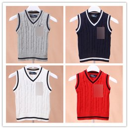 Wholesale New Children s Pullover Boys Polo Sweaters Sleeveless Suspender Sweater Vest Tops V neck Knitting Sweater Red Navy White Grey A1499