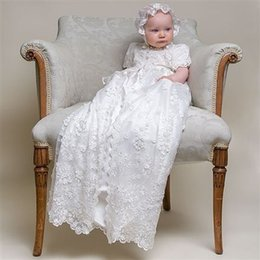 Wholesale Custom made New Lovely short sleeve Baptism Gown white ivory lace Christening Gowns for Baby Girls and Boys First Communion Dresses