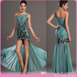 Wholesale New Arrival Peacock Green Chiffon Prom Dresses One Shoulder High Low Appliques Pleats Sheath Evening Homecoming Party Gown
