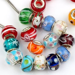 Wholesale New styles mm Handmade Evil Eye Flower Murano Lampwork Colored Glaze mm Big Hole Pandora Glass Beads Fit Charm Bracelet Jewelry DIY