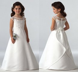 Wholesale 2015 Hot Sale Cute Flower Girl Dress Crew Capped Sleeve Zipper Full length Hand Made Flowers Lace Organza Stain First communion dress