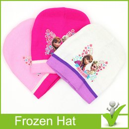 Wholesale Hot Frozen Knitted Hat warm winter knitting Polyester crochet beanie hat Baby Kids Lovely Frozen Cartoon Hat Anna Elsa Hat