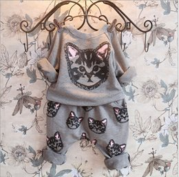 Wholesale hello kitty girls clothing sets kids clothes little cat baby girl and boy long sleeve cotton set
