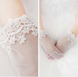 Wholesale Hot Sale New Lace Bridal Gloves Handmade Diamond Short Bride Crystal Full Finger Wrist Length In Stock