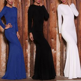 Wholesale Vestidos New Spring Women Long Sleeve Party Dresses Solid Sexy Backless Slim Fit Elegant Formal Evening Long Maxi Dresses