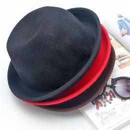 Wholesale 1pcs Classic Vintage Women Men Unisex Billycock Woolen Roll Brim Bowler Hats New Hot Selling