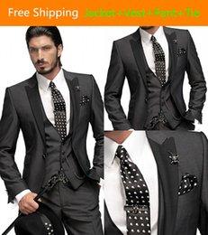 Wholesale 2015 Hot Sale Custom Made One Button Tailcoat Groom Tuxedos Groomsman Wedding Suit Gray Jacket Vest Pants Tie Peak Lapel Prom Dresses AE99
