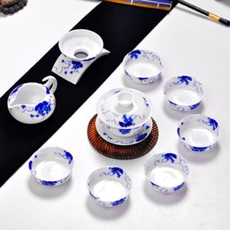 Wholesale Dutch rhyme Jingdezhen porcelain hand painted flowers imitation eggshell ceramic kung fu tea complete office suite