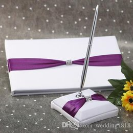 Wholesale Wedding supplies Guest Books Pen Sets with purple ribbon and diamond