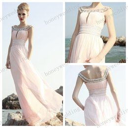 Wholesale Wow Elegant Off Shoulder Prom Dresses A Line Floor Length Beads Appliques Pleats Empire Pink Chiffon Evening Gowns