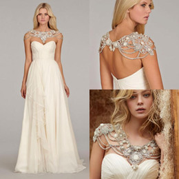 Wholesale 2016 ALine Wedding Dresses Hayley Paige Bridal Dress Split Georgette Natural Grecian Draped Ruffle Alabaster Crystal Bolero Chapel Gowns