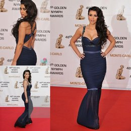 Wholesale Navy Blue Kim Kardashian Dress Red Carpet Evening Dresses Sexy Sweetheart Spaghetti Straps Beads Chiffon Ruched Mermaid Celerity Dresses Hot