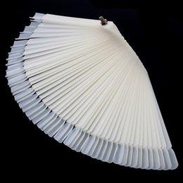 Wholesale 50 Tips White Nail Art Display Practice Foldable Fan shaped Nail Polish Display False Tips