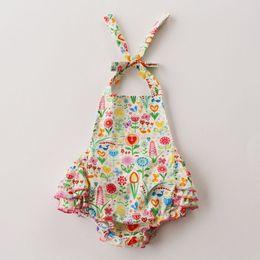 Wholesale 2016 NEW baby girl toddler piece set outfits flower romper onesies jumper dress tutu skirt Cotton pajamas bowknot headband headwrap