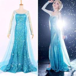 Wholesale Blue Bling Snow Queen Frozen Elsa Queen Princess Adult Women Evening Party Dress Costume Elsa Dresses