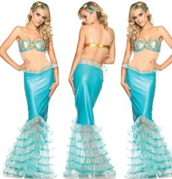 Wholesale nueva princesa occidental cola de la sirena vestido de la princesa de adultos venta al por mayor al por mayor de belle uniforme cosplay traje atractivo de la sirena de Halloween para las mujeres