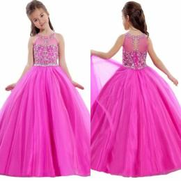 Wholesale Gorgeous Pageant Dresses for Teens Sheer Crew Neck Crystals Beaded Floor Length Flower Girls Dresses Toddler Pageant Cupcake Dress J814