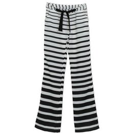 Wholesale Fashion Summer Fashion Women s Stripe Casual Stretch Pants Wide Leg Long Loose Palazzo Trousers