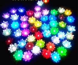 Wholesale 100pcs New Arrive LED Lotus Lamp in Colorful Changed Floating Water Pool Wishing Light Lamps Lanterns for Party Decoration