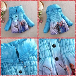 Wholesale Christmas Frozen Elsa Anna Winter Coat Childrens Thickening Coat Girl Long zip Cotton Padded Outwear Kids Down Jackets Cardigans DHL Ship