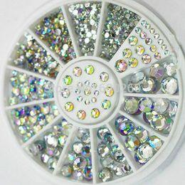 Wholesale Caliente venta tamaños blanco Multicolor acrílico Nail Art decoración brillo Rhinestones nueva no libre envío orden seguimiento