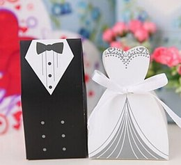 Wholesale New Arrival Wedding Favor Box pairs Bride and Groom Gift Candy Box with White Ribbon Candy Boxes