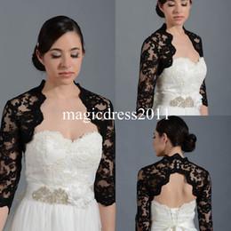 Wholesale Black Lace High Neck Bridal Wraps Jackets Shawl Bolero Shrugs Stole Caps Half Sleeve Backless Hollow Women Bridesmaid Wedding Dress PJ022