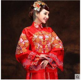 Wholesale 2015 NEWShow Woclotheswedding gownChinese marriageToast suitLong redgravid a cheong samA summer DragonsuitLong red gravida cheongsam A