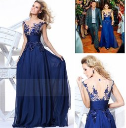 Wholesale Cheap Under Fall Tarik ediz Evening Dresses Sheer Neckline Short Sleeves Backless Sequins Applique Chiffon Plus Size Party Prom Gown