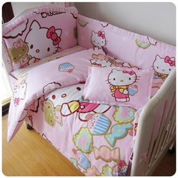 Wholesale GoodMom Hello Kitty crib bedding set Baby bedding bumper Crib baby bedding kit bumpers sheet pillow cover pillow inner