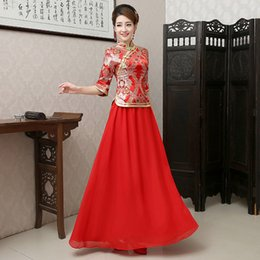 Wholesale Luxury Autumn and Winter Bride Cheongsam Long Vintage Toast Clothing Red Chinese Wedding Dress Tang Suit Cheongsam Dress Two Pieces On Sale