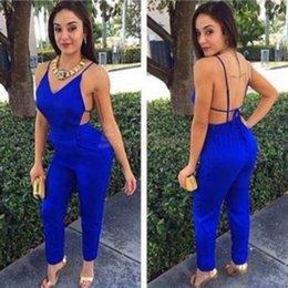 Wholesale Sexy Jumpsuit Women Rompers Blue Bodysuit OL Overalls For Women Playsuit Pleated Suit Casual Suit Long Jumpsuit Long Pants