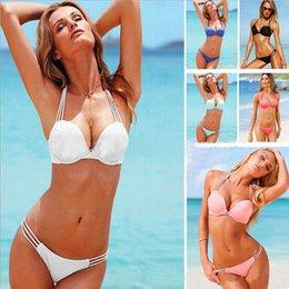 Wholesale Push Up Bikini Sets White Black Women Swimwear Suit Padded Beach Wear Bikini Suits Swimming Set colors