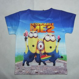 Wholesale Despicable Me Minions Blue Tie Dye Graphic Summer T Shirt Printed cartoon animation quality short sleeve Kids Clothing