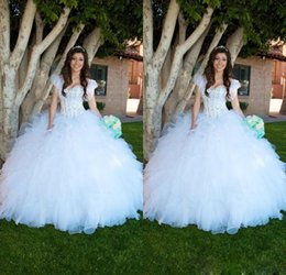 Wholesale 2015 White Ruffles Ball Gown Quinceanera Dresses With Jacket Heavy Beaded Corset Top Full length Special Occasion Girls Dresses