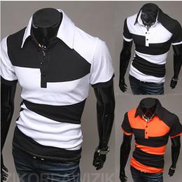 Wholesale 2014 new men s Korean Slim personalized black white POLO shirt irregular mixed colors men short sleeved t shirt