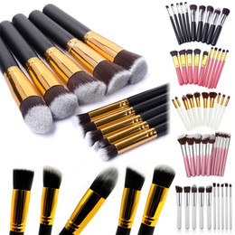 Wholesale 10 set Superior Professional Soft Cosmetic Facial Make up Oval Brush Set Woman s Toiletry Kit makeup brushes SGM kabuki brush DHL free