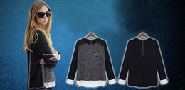 Wholesale 2015 New Fashion Women Chiffon Knit Shirt Loose Top Casual Blouse Long Suit O neck Jumper Sweater Plus