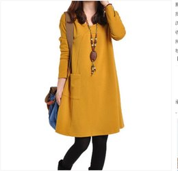 Wholesale Spot Autumn new Korean Women yards casual loose solid color V neck dress bottoming