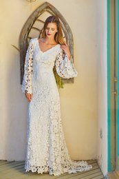 Wholesale 2015 Hot Vintage Bohemian Wedding Dresses Lace Sheath Wedding Dresses With Long Sleeves Backless Beach Wedding Gown V Neck Sweep Train