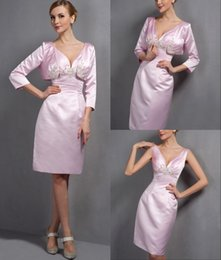 Wholesale Pink V Neck Sheath Satin Short Knee Length Sexy Two Pieces Mother Of Bride Dresses Suits With Jacket Woman Suits MD5863
